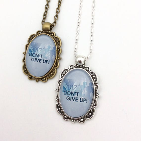 """JW Antique Brass or antique silver finish Pendant """"Don't Give Up"""" on matching 18"""" chain, Blue Velvet Gift Bag Included!"""