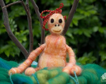 Felted orangutan - Lily. Puppet, Marionette. Felt toy. Art Toy. Felted Animal. orange, red. MADE TO ORDER