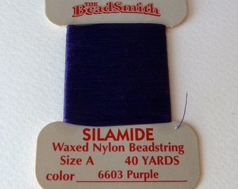 Purple Waxed Nylon Bead String - Size A -  40 yd card -  Silamide two ply twisted nylon thread