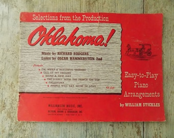 """Vintage 1956 Rodgers and Hammerstein """"Oklahoma!"""" Sheet Music by Williamson Music, Inc. New York"""