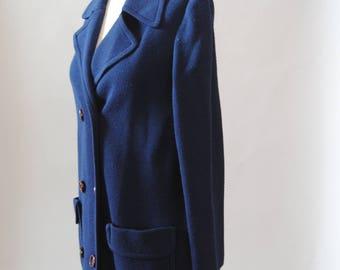 Vintage Jacket 60s Navy Blue Knit Peacoat Lightweight Knit Jacket Coat M L