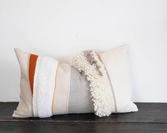 Modern Cream and White Weaving Felt and Wool Textural Throw Pillow- Large Lumbar