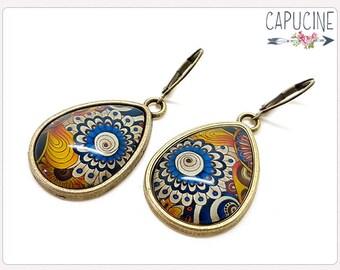 Vintage flowers drop earrings - Drop earrings with Glass dome colorful flowers