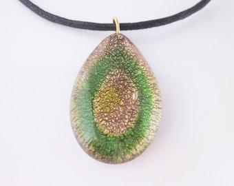 Murano pendant  necklace Il Doge/green/gold tone/venitian glass/romantic