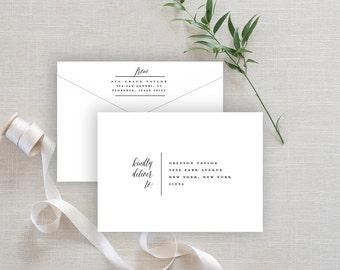 Envelope Template, Editable Printable Template, Printable Envelope, Modern Calligraphy Wedding Envelope | No. EDN 5002