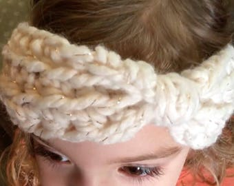 Toddler ear warmer off white with gold sparkle