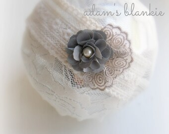 Falter - Gray Khaki Cream Lace Headband - Vintage Style - Pearl - Girls Newborns Baby Infant Adults
