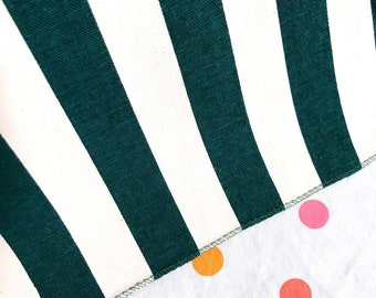 Hunter Green & White Awning Stripe Stripes Fabric Cotton Heavyweight Upholstery