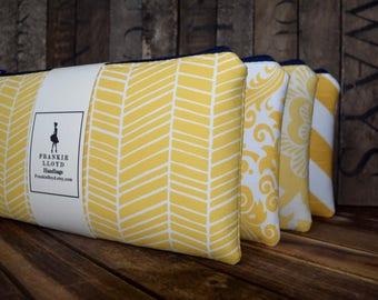 Yellow Custom Bridesmaid Wristlet Set, Yellow Wedding Bags, Yellow Wedding Gifts, Yellow and Gray Wedding