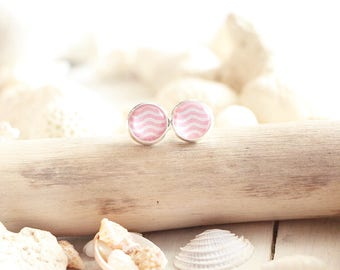 Guadeloupe stud earrings, pink graphic pattern, silver white base 10 mm, beach style, summer jewel, for women