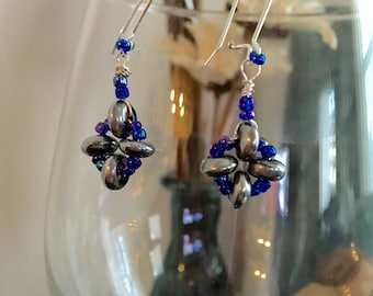 Silver and Puple/Blue Beaded Drop Earrings