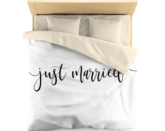 Just Married,  Duvet Cover, wedding gift, newly Weds gift, gift for bride and groom