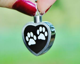 Urn 2 Paw Prints on My Heart Cremation PENDANT or NECKLACE Holds Cremains Ash Locket Dog Cat Pawprint In Memory of Beloved Pet Loss Memorial