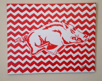 Original Razorback Acrylic Painting Red & White Chevron 16 x 20