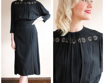 1940s Dress // Black Widow Rhinestone Crepe Dress // vintage 40s dress