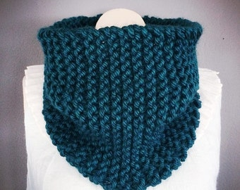 Knit Cowl in Peacock Blue Soft Acrylic Cowl Handmade Cowl Fall Fashion Winter Fashion Knit Scarf Bohemian Fashion Gift for Her Blue Scarf