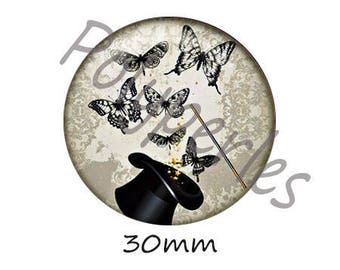 1 BRONZE 30mm Wizard Hat Black Butterfly glass lens