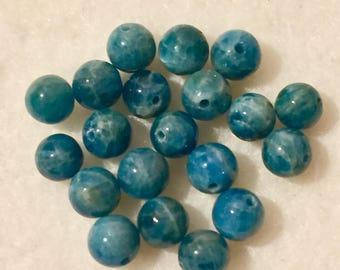 Blue apatite bead