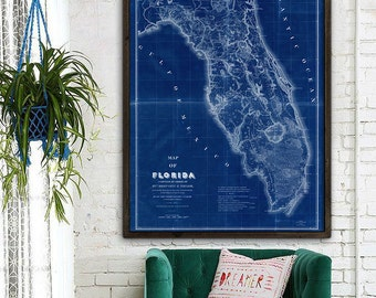 "Map of Florida 1839 Old Florida map. Large vintage map of Florida up to 48x64"" Florida poster in blue or beige - Limited Edition of 100"