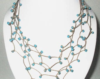 Turquoise, Blue Turquoise Stone Necklace, Multi Strand Necklace on Wax Cord