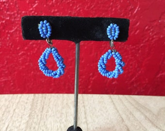 Vintage Blue Beaded Screwback Earrings