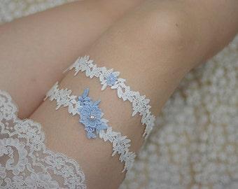 bridal garter set, wedding garter, white lace garter, bride garter, something blue garter, garter with blue, flower lace garter