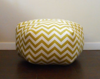 Large Pouf / Green and Cream Chevron Fabric / Floor Pouf Ottoman