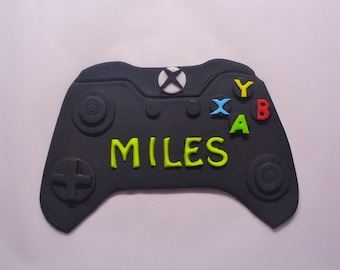 XBOX One Controller Edible Fondant Name Plaque Cake Topper