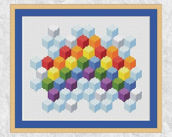 Geometric rainbow cross stitch pattern, modern art counted cross stitch pattern PDF, cubist sky, 3D effect boxes, printable instant download
