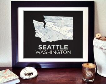 Seattle Art Print, Seattle Washington Print, Seattle Map Print, Washington State Print, Seattle Gift