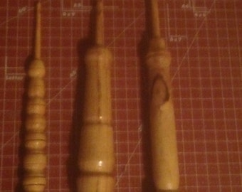 Handmade Wooden Crochet Hook 3 Piece Set