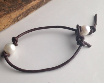 Freshwater Pearls, Large Hole Pearls, Leather and Pearl Bracelet, Dark Brown Leather, Etsy, Etsy Jewelry