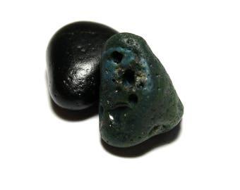 Blue Slag Glass Pendant - Genuine Green Turquoise Slag Stone - Beach Rock Pebble Surf Tumbled Riverstone - Necklace Charm Focal Stone - Seas