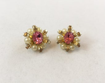 Vintage, Coro, Pink and Pearl, Flower Pin/Brooch