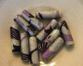 Purple Cranes Yuzen Japanese Paper Hand Rolled Paper Beads 3/4 Inch: Set of 10