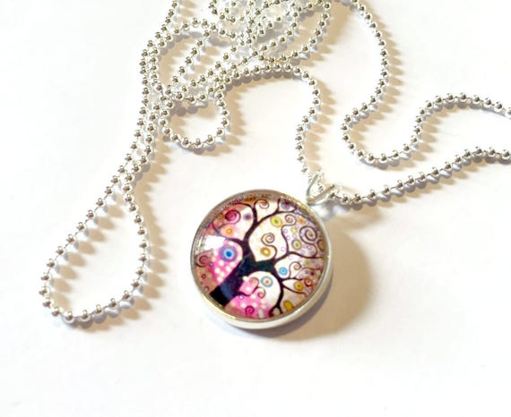 Pink Fantasy Tree Necklace, Pink Tree of Life Pendant, 16mm Pink Swirl Pendant with 24 inch Silver Chain, Pink Spring Swirly Tree Necklace