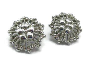 MONET Earrings Silver Design Clip Ons Scalloped Open Work Vintage Costume Jewelry Designer Signed  Simple Modernist