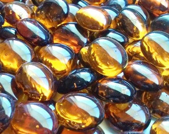 Creative Stuff Glass - 100 Amber Glass Gems Stones, Mosaic Pebbles, Centerpiece Flat Marbles, Vase Fillers, cabochons