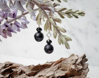 Matte Onyx, Faceted Stone, Black Earrings, Minimalist Jewelry, Silver, Small Classy, Date Night, Elegant Dressy, Dark Sparkle, Nickle-free