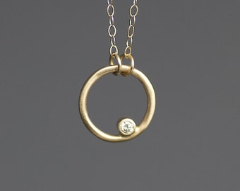 Gold Circle Necklace with Diamond - 14K Solid Gold Circle Charm - 2mm Diamond - 16 Inch 14K gold Chain - READY To SHIP - Free US Shipping