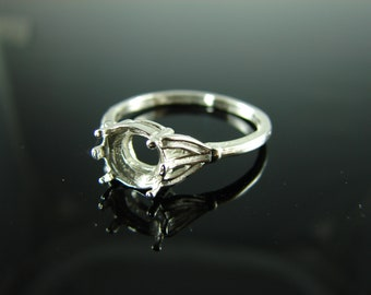6076 Ring Setting Sterling Silver Size 8.75, 8mm Round Gemstone