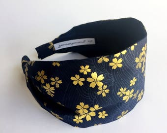 Japanese sakura fabric headband for women and girls navy blue cherry blossom flowers and water hairband for woman metallic gold