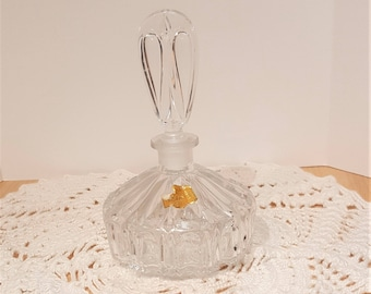 Vintage Lead Crystal Perfume Bottle with Stopper Made in West Germany with Original Label presented by Donellensvintage