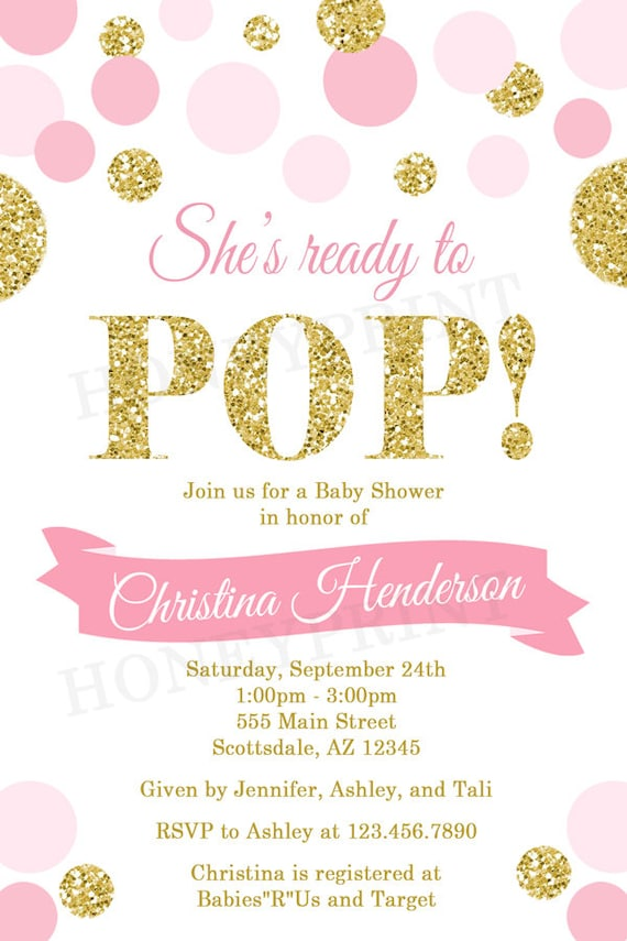 She\'s Ready to Pop Baby Shower Invitation Pink Gold