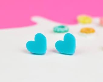 Teal Turquoise Heart Earrings   Valentines Jewellery   Nickel Free Earrings for Sensitive Ears   Blue Green Jewellery