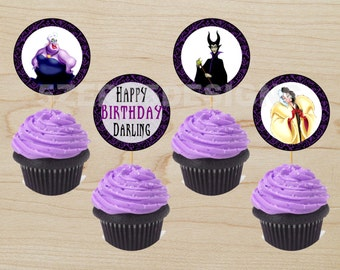 Maleficent cupcake toppers Disney Villain cupcake topper