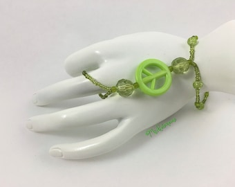 Slave Bracelet, Beaded Slave Bracelet, Elastic Beaded Slave Bracelet, Green Bracelet, Beaded Bracelet with Ring, Elastic Bracelet, gift