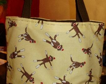 Banana Yellow & Brown Retro Silly Sock Monkey BAG  Purse Tote BAG or Diaperbag