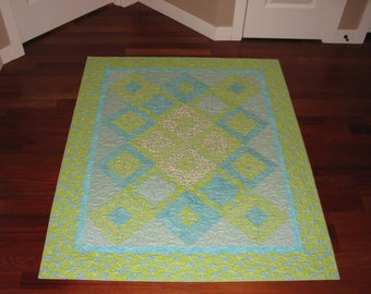 Turquoise and Lime Green Lap Quilt