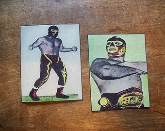 Mexican wrestler patch set retro rockabilly sew on patch Luche Libre kitsch